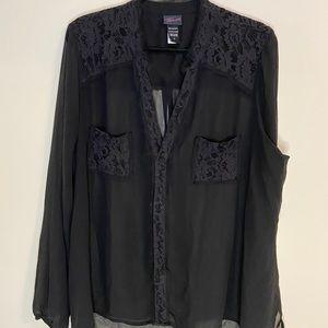Black sheer TORRID button up blouse